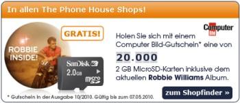 Computerbild kaufen (1,50€) und 2GB micro-SD + neues Robbie Williams Album abholen