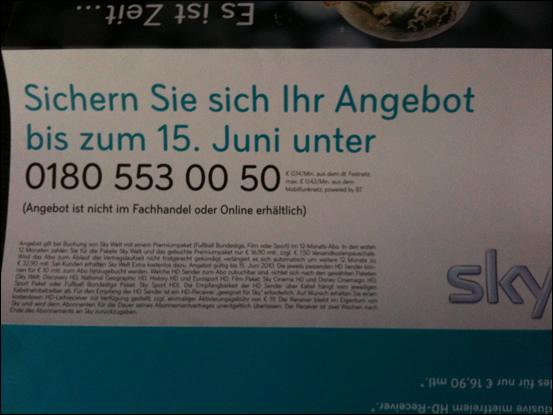 Fifa WM 2010 + Fußball Bundesliga auf Sky für 17€ im Monat *Update*