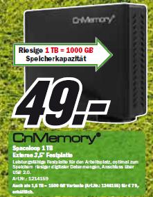 Externe 1TB Festplatte für 49€ bei Media Markt