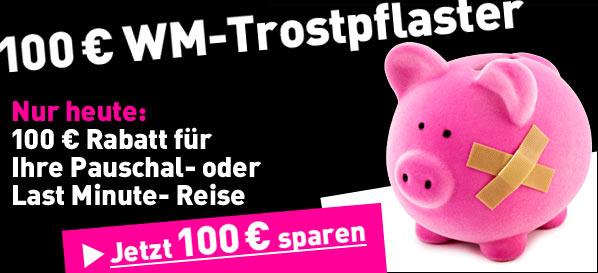 WM-Trostpflaster - 100€ Rabatt bei lastminute.de