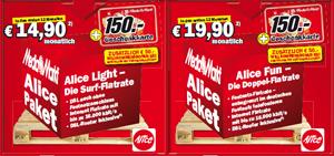 Alice DSL ohne Vertragslaufzeit + 150€ Media Markt Gutschein
