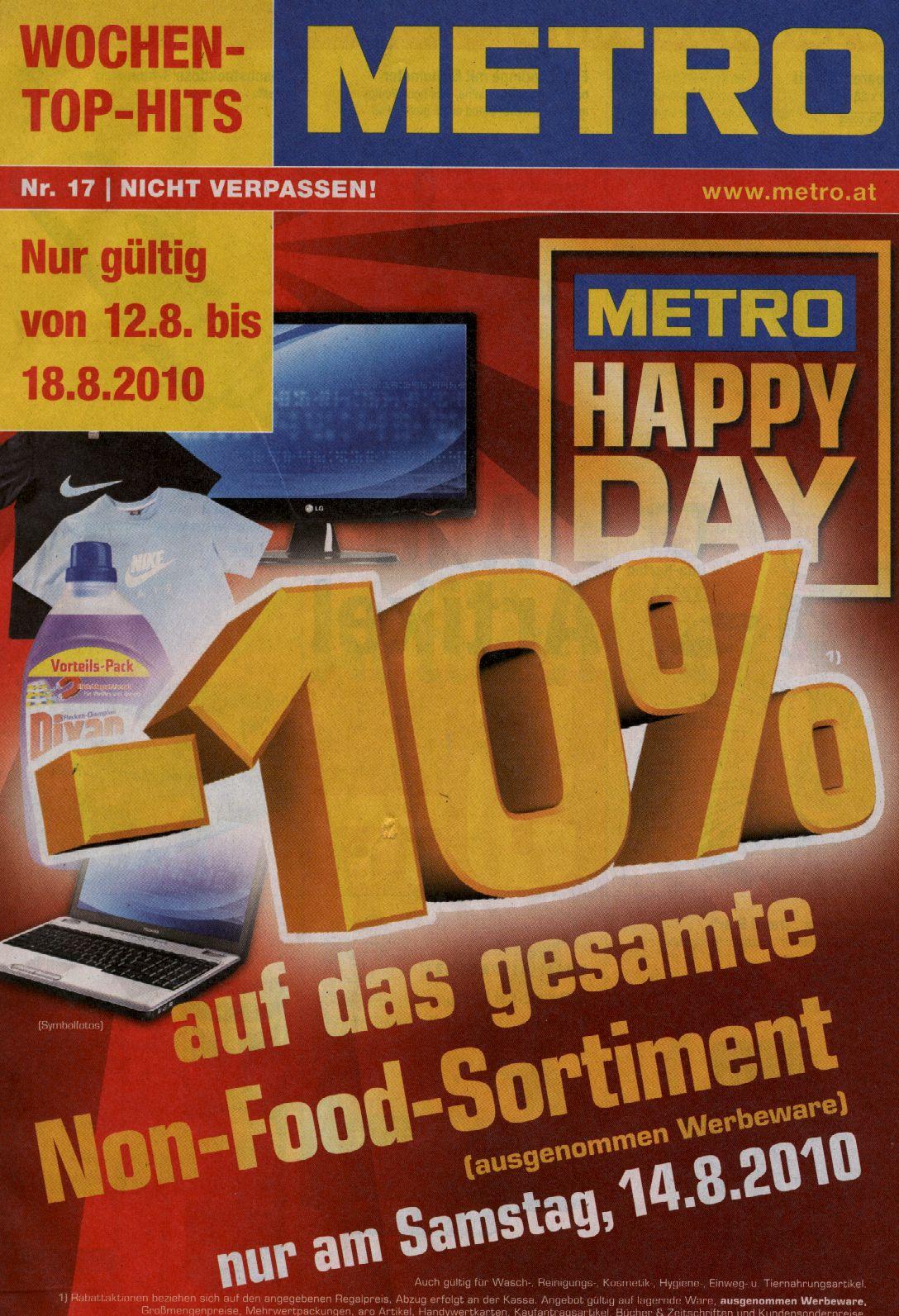 -10% auf das gesamte Non-Food-Sortiment am Samstag 14.08.2010 @Metro Österreich