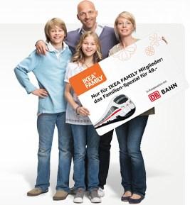IKEA Family Bahnticket: Einfache Fahrt (in ganz Deutschland) mit der Familie für 49€