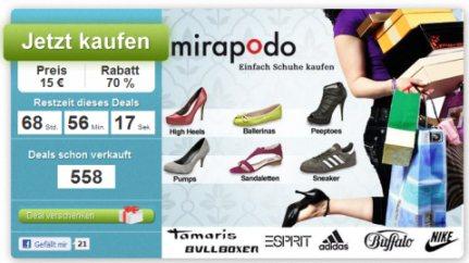HAMMER: 50€ Mirapodo Gutschein für Schuhe ab 7€ bei DailyDeal *UPDATE* Jetzt für 2€!