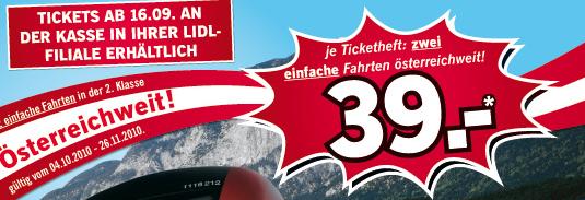 ÖBB-Lidl-Ticketheft - 2 einfache Fahrten innerhalb Österreich für nur 39€