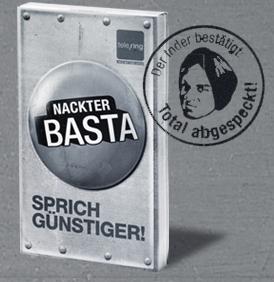 Nackter Basta - 500 Freiminuten und 500 FreiSMS bei 5€ Grundgebühr