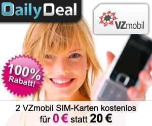 2 VZmobil SIM-Karten komplett kostenlos - Im ersten Monat kostenlos telefonieren und 2500 Frei-SMS
