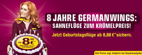 Germanwings Geburtstagsaktion: Flüge für 8,88€ inkl. Steuern und Gebühren