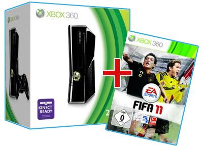 XBox 360 Slim 250GB + FIFA 11 für 248€ oder mit XBox 360 Slim 4GB 200€