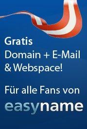 Kostenlose .at Domain inkl. Webspace und E-Mail für 1 Jahr (Wert: 14,90€)