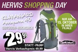 Shopping Day bei Hervis: Kilimanjaro-Rucksack 40l morgen für 30€ statt 50€