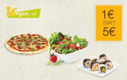 Mjam Gutschein im Wert von 5€ für 1€ - online Essen bestellen