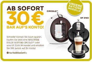 Bis zu 40€ Cashback beim Kauf einer Dolce Gusto Circolo oder KP 21XX