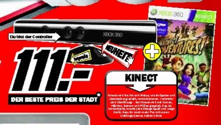 Kinect Sensor und Kinect Adventures 111€ @Mediamarkt Offenburg