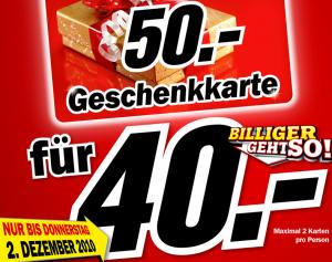 50€ Media Markt Geschenkkarte für 40€ kaufen - 20% Ersparnis