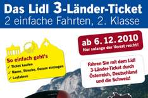 Lidl 3-Länder-Ticket: 2 einfache Bahnfahrten für 73€ (in Ganz Deutschland, Österreich und der Schweiz)