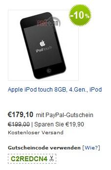 Wow! Apple iPod Touch 8GB (4G) mit PayPal-Gutschein für nur 179€!