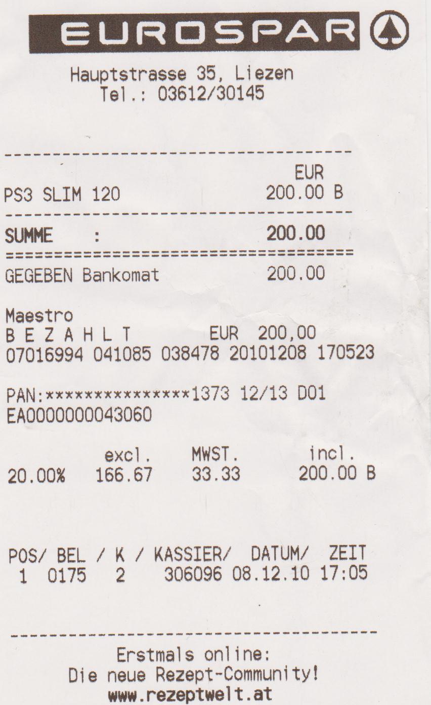 Sony Playstation 3 120GB für 200€ @Eurospar Liezen