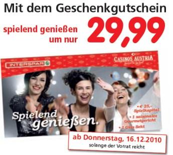 50€ Spielkapital inkl. 2 Gourmet-Essen und Sekt im Casino für 43€