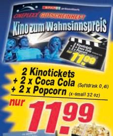 Cineplexx Gutscheinheft (2x Tickets, Softdrinks, Popcorn) für 12€ bei Spar