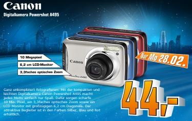 Canon PowerShot A495 für 44€ bei Saturn (nur am Montag)