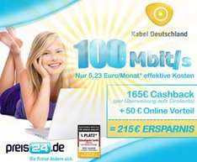 Kabel Deutschland Internet (100 Mbit/s!) für 5,64€ mtl. im ersten Jahr (im 2. Jahr teuer!)