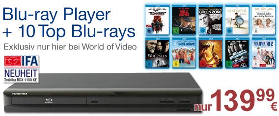 Toshiba BDX 1100 KE + 10 Blu-rays für 142€