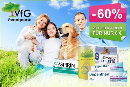 20€ VfG Gutschein für 8€ - Onlineshop für rezeptfreie Medikamente