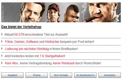 25€ Startguthaben für Verleihshop.de - DVDs, Blu-rays und Videospiele gratis ausleihen