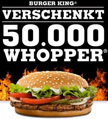 50.000 gratis Whopper für Facebook Fans *Update*
