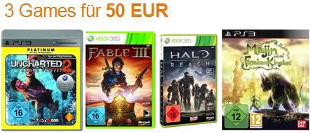 3 Games (PC, PS3, XBox 360, Wii) für 50 Euro bei Amazon