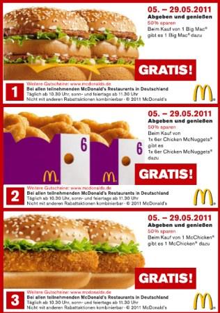 Mc Donald's Gutscheine - Mai 2011 (für Deutschland)