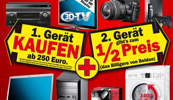 Media Markt Doppelsparaktion: 2. Gerät zum halben Preis!