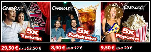 Cinemaxx Gutscheine für Eintritt, Softdrinks und Popcorn