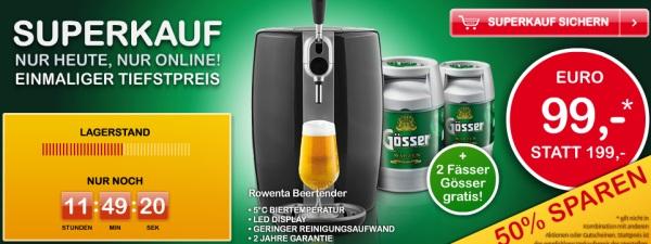 Rowenta B80/VB2008 Beertender + 2 Fässer Gösser für 99€ statt 175€