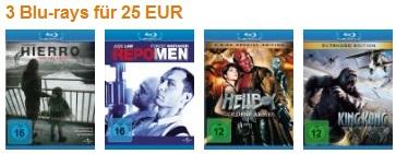 3 Blu-rays für 25€ bei Amazon (große Auswahl) - und andere Filmaktionen