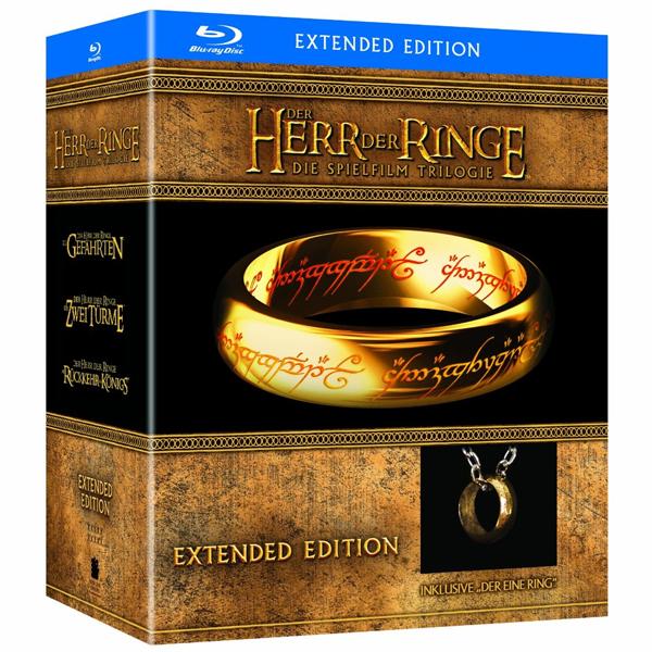 """Der Herr der Ringe - Die Spielfilm Trilogie (Limited Extended Editions inkl. Der Eine Ring""""-Replik) auf Blu-ray für 65 Euro"""
