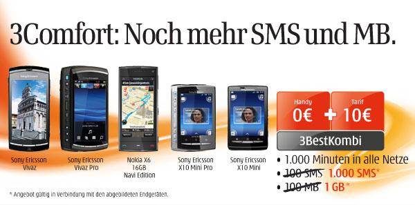 1.000 Freiminuten, 1.000 SMS, 1GB Datenvolumen + gratis Handy für monatlich 10 Euro bei Drei