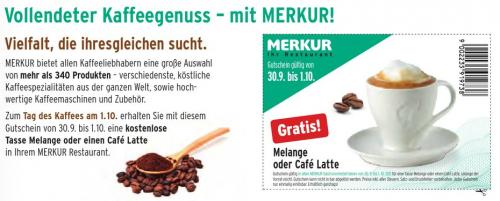 1 Tasse Kaffee kostenlos in jedem Merkur Restaurant