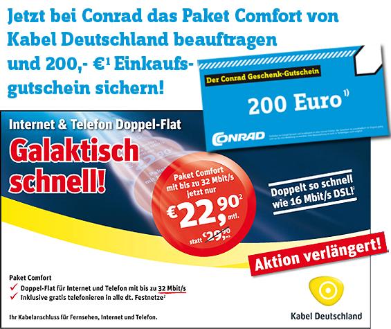 Kabel Deutschland 32 MBit Flatrate mit 200€ Conrad Gutschein