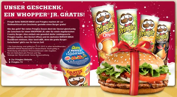 Gratis Whopper Jr. oder Country Burger zu jeder Pringles Dose *Update* wieder erhältlich!