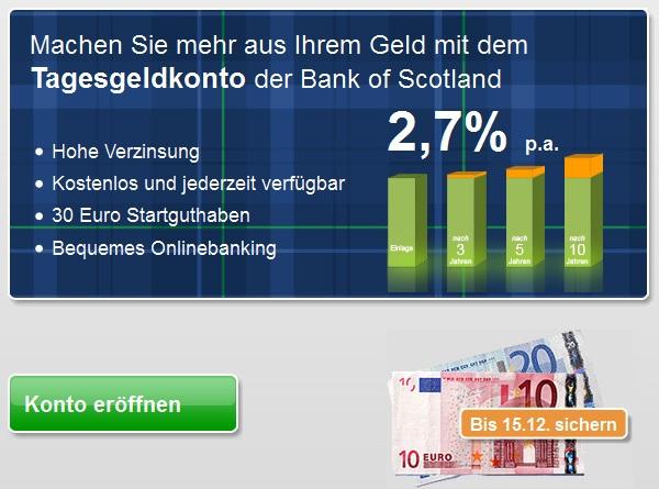 Bank of Scotland: Bestes Tagesgeldkonto mit 2,7% Zinsen und 30€ Startguthaben