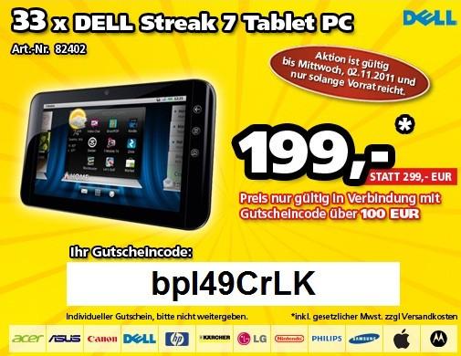 Dell Streak 7 Tablet PC für 199€ statt 249€ (nur 33 Stück verfügbar)