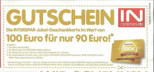 100 Euro Interspar Gutschein für 90 Euro