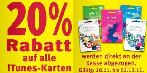 20% Rabatt auf alle iTunes-Karten - nächste Woche bei Rossmann, REWE und TOOM