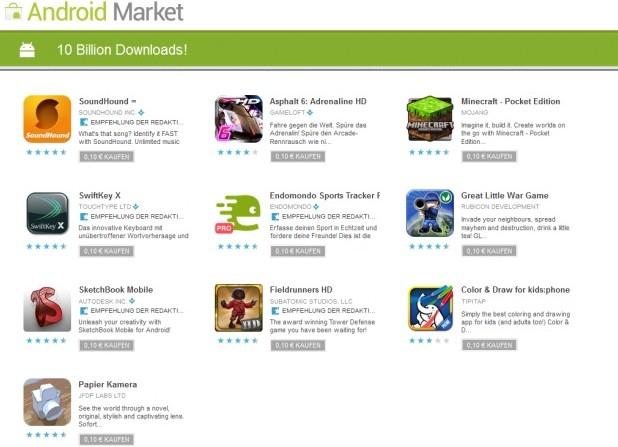 Android Market feiert 10-milliardsten Download: 10 Android Apps für 0,10€