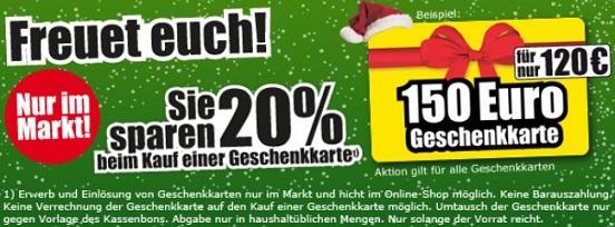 20% Rabatt auf Wertgutscheine bei ProMarkt + Tiefpreisgarantie