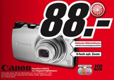 Canon PowerShot A3200 IS für 88€ statt 99€ im Media Markt Onlineshop