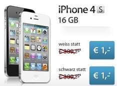 iPhone 4S 16GB + T-Mobile Tarif (120 Freiminuten, 200MB Datenvolumen) für 599,80€
