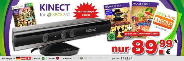 XBox 360 Kinect inkl. 3 Spiele + 3 Monate Live Gold für 90€ bei GameStop